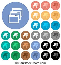 Cascade window view mode round flat multi colored icons -...