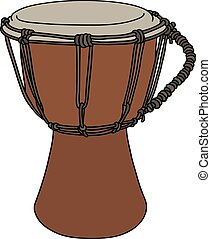 Small ethno drum - Hand drawing of a wooden small ethno drum