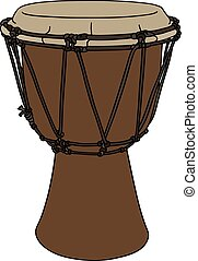 Small ethno drum - Hand drawing of a classic wooden ethno...