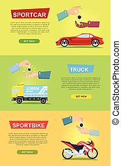 Sportcar. Truck. Sportbike. Hands Passing Keys - Sportcar...