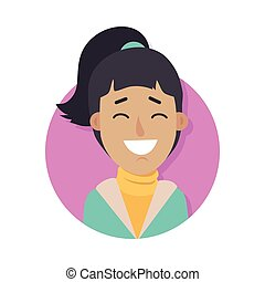 Woman Face Emotive Vector Icon in Flat Style - Woman face...