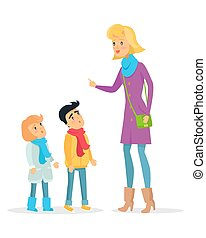 Woman Explaining Rules for Attentive Children - Woman...