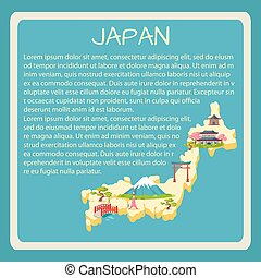 Japan Framed Vector Touristic Banner with Text - Japan...