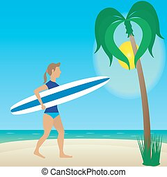 Flat illustration girl with longboard on beach.