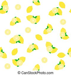 Lemon pattern with leaves on white.