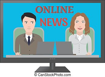 TV latest news. Two reporters are the news media vector...