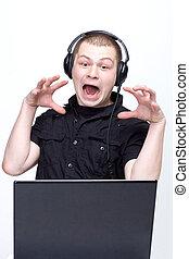 Man with laptop - fun