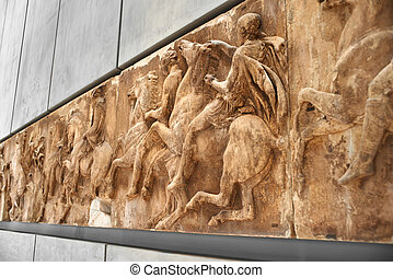 Section of west frieze from the Elgin Marbles of Parthenon...
