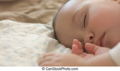 Little child sleeping. 1,5 year old baby girl. - Close-up of...