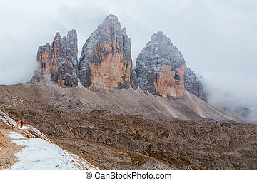 Tre Cime di Lavaredo in beautiful surroundings in the...