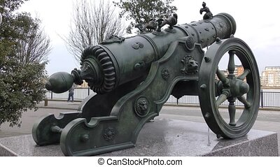 Old iron cannon.