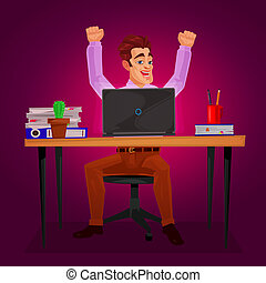 Male worker triumphantly raised his hands - illustration of...
