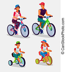 Set of illustration adults and children riding bicycles -...