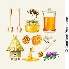 Set of honey icons.