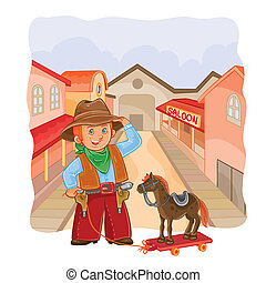 illustration of little cowboy with a wooden horse on a town...