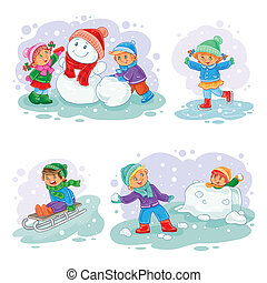 Set winter icons with little children - A set of icons of...