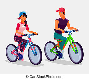 Young boy and girl riding bicycles - illustration of young...