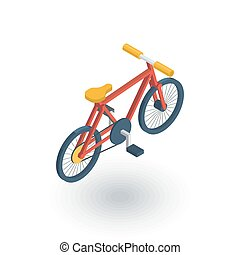 Bicycle, bike isometric flat icon. 3d vector colorful...