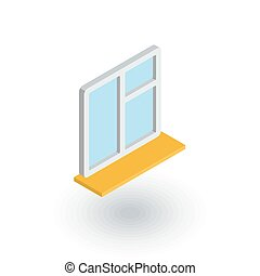 window whith sill isometric flat icon. 3d vector colorful...