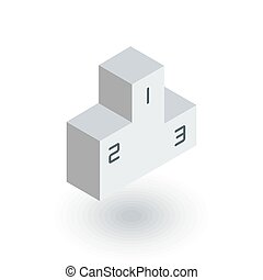 Empty Winners Podium, First, Second, Third Place, Award Ceremony isometric flat icon. 3d vector