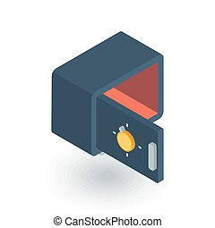 empty open safe isometric flat icon. 3d vector