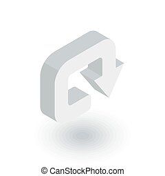 rotate, circle, round turn isometric flat icon. 3d vector