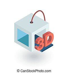 3D Printer isometric flat icon. 3d vector colorful...