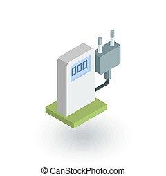 electric vehicle charging station, ecology isometric flat...