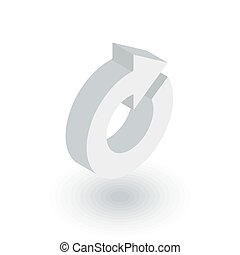 rotate arrow, update isometric flat icon. 3d vector