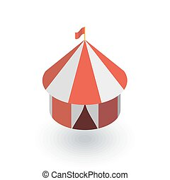Circus tent isometric flat icon. 3d vector colorful...