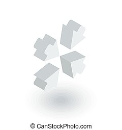 Arrows in the center isometric flat icon. 3d vector - Arrows...