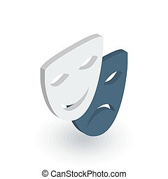 Theatre mask isometric flat icon. 3d vector colorful...