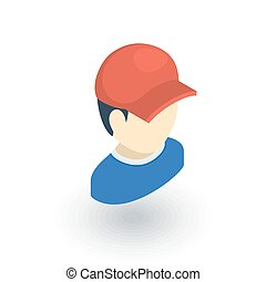 little boy in red cap isometric flat icon. 3d vector...