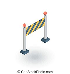 fence light construction isometric flat icon. 3d vector...