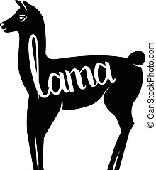 Lama with the inscription llama silhouette logo. Isolated on...