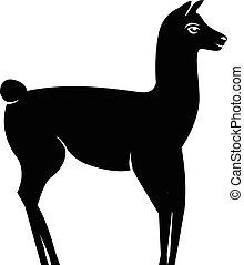 Lama silhouette logo isolated on white background