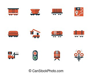 Railway flat design red vector icons - Objects of railway,...