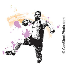 handball player - sketching of the handball player
