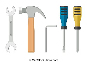 Tools flat icon - Tools in flat style. Icons of screwdrivers...
