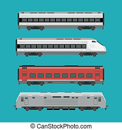 Passenger trains in flat style. Express train vector...
