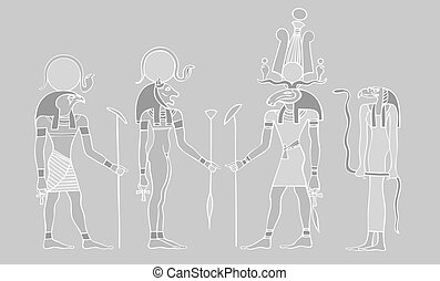 Egyptian gods and - vector