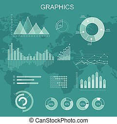 Set of Transparent Vector Graphs and Diagrams - Set of...