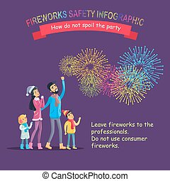 Fireworks Safety Infographic, People Look at Sky - Fireworks...
