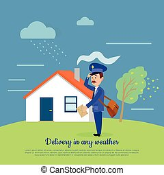 Delivery in any Weather. Postman Delivers Letters