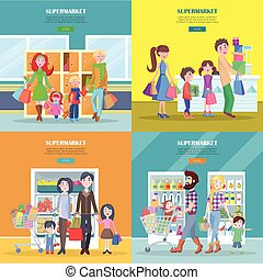 Happy Families Have Shopping in Big Supermarket. - Happy...