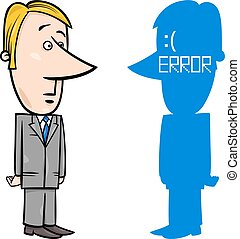 businessman with BSOD error - Concept Cartoon Illustration...