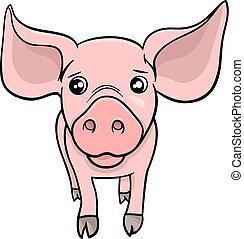 pig or piglet cartoon character - Cartoon Illustration of...