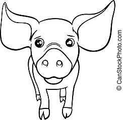 pig or piglet coloring page - Black and White Cartoon...