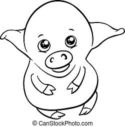 cute piglet coloring page - Black and White Cartoon...