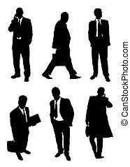 businessman set - Set of buisnessmen's silhouettes